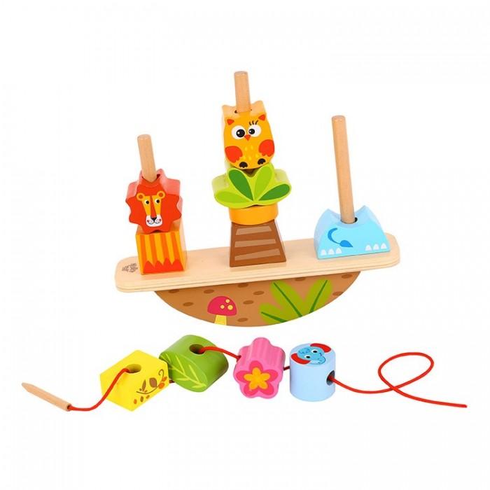 Деревянная игрушка Tooky Toy Развивающая игра-баланс Животные со шнуровкой