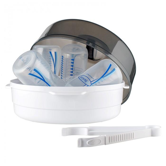 Dr.Browns Стерилизатор для СВЧ печи с щипцамиСтерилизатор для СВЧ печи с щипцамиПаровой стерилизатор подходит для использования в микроволновке. За один раз в нем можно обрабатывать 4 бутылочки с сосками Dr Browns. Точное время, необходимое для стерилизации бутылочек зависит от мощности микроволновой печи. Для удобства к стерилизатору прилагается инструкция, в которой указана мощность микроволновки и время обработки бутылочек. Данный стерилизатор подходит для бутылочек и компонентов Dr Browns. Если вы собираетесь использовать данный стерилизатор для бутылочек других производителей, то учтите размеры стерилизаторы приведенные ниже.  Все компоненты не содержат бисфенола А.  В комплекте: стерилизатор, щипцы для чистой посуды, инструкция на русском языке.  подходит для бутылочек с сосками Dr.Browns; размер контейнера: 25х16 см; размер резервуара для бутылочек: 26,5х14 см; размер упаковки: 27х27х14 см Высота с учетом крышки: 17 см  Длина щипцов: 18,5 см<br>