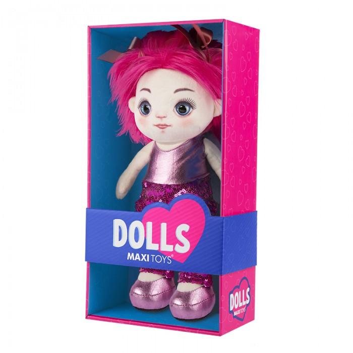 Мягкая игрушка Maxitoys Кукла Милена в оранжевом платье 35 см