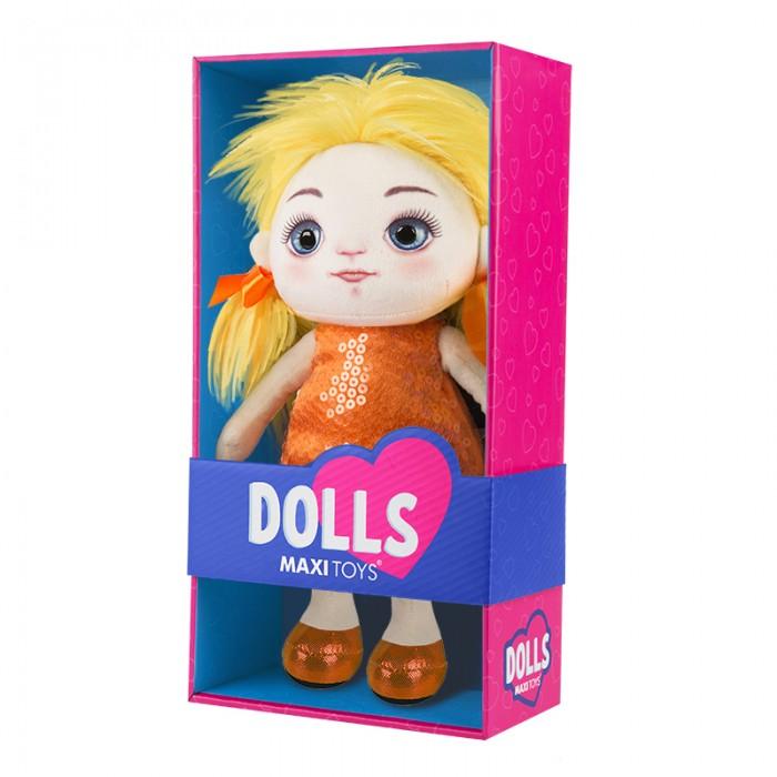 Купить Мягкие игрушки, Мягкая игрушка Maxitoys Кукла Милена в оранжевом платье 35 см