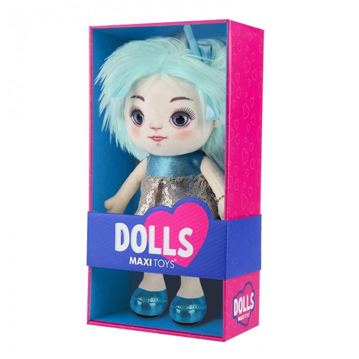 Купить Мягкие игрушки, Мягкая игрушка Maxitoys Кукла Карина в сине-серебряном платье 35 см