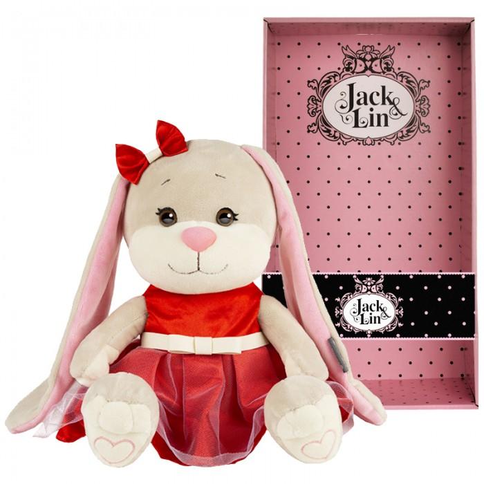 Мягкая игрушка Jack&Lin Зайка в нарядном красном платье 25 см