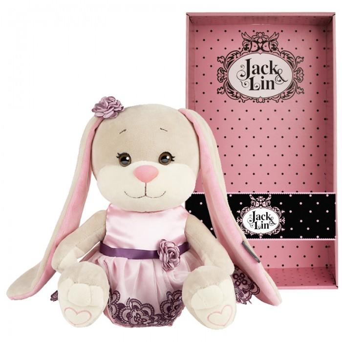 Мягкая игрушка Jack&Lin Зайка в вечернем розовом платье 25 см фото