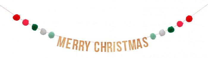 цена на Новогодние украшения MeriMeri Гирлянда помпоны Счастливого Рождества