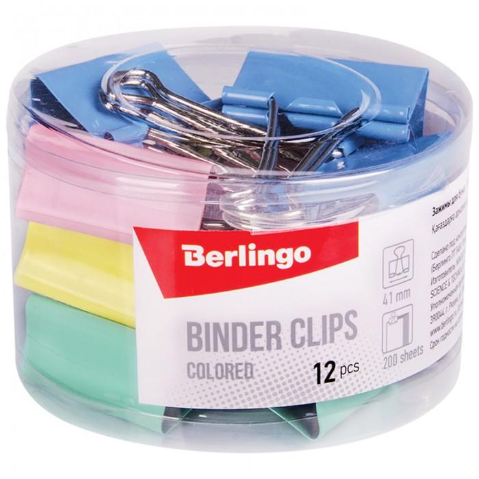 Канцелярия Berlingo Зажимы для бумаг цветные 41 мм 12 шт. зажимы для бумаг staff комплект 12 шт 41 мм на 200 листов цветные в картонной коробке 225159
