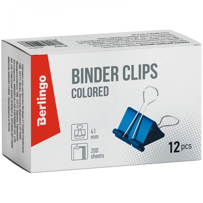 Канцелярия Berlingo Зажимы для бумаг цветные на 200 листов 41 мм 12 шт. зажимы для бумаг staff комплект 12 шт 41 мм на 200 листов цветные в картонной коробке 225159