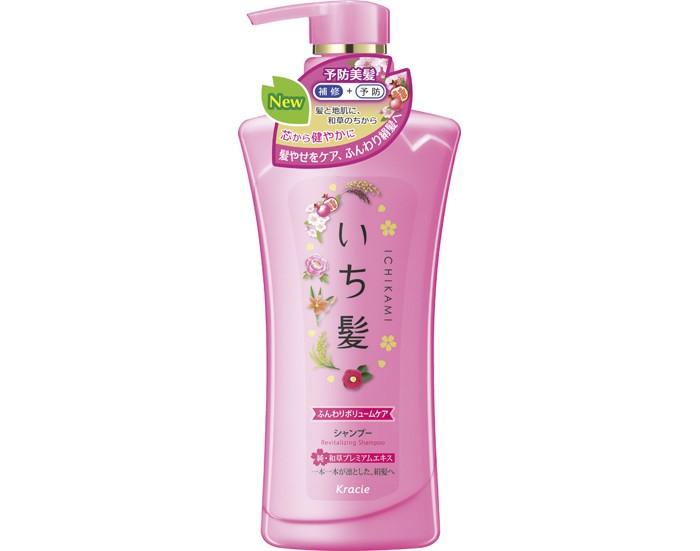 Косметика для мамы Kracie Ichikami Шампунь для придания объема поврежденным волосам Гранат 480 мл