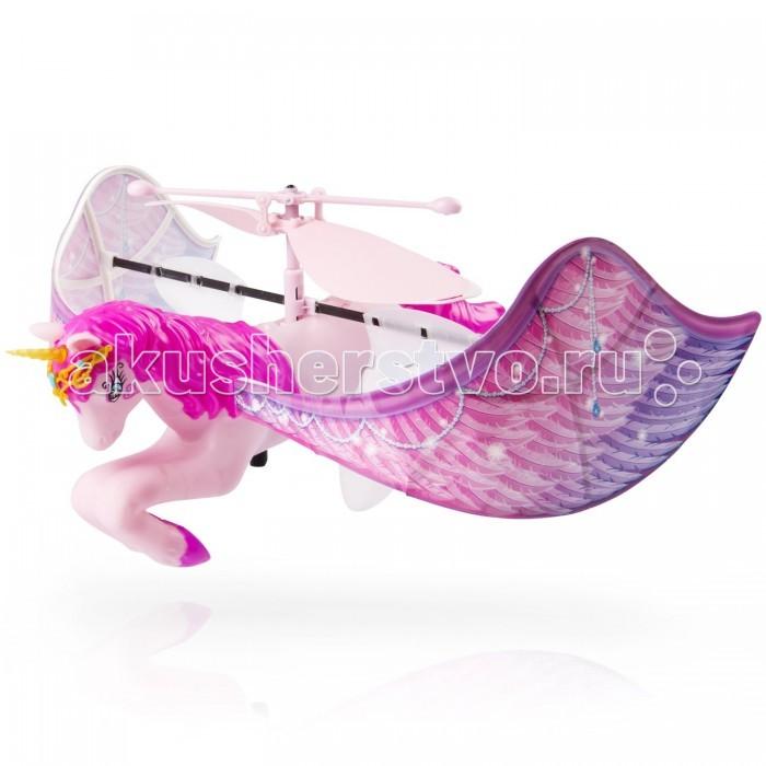 Интерактивная игрушка Flying Fairy Летающий ЕдинорогЛетающий ЕдинорогИнтерактивная игрушка Flying Fairy Летающий Единорог выполнен в самых лучших традициях серии парящих игрушек Flutterbye! На этот раз перед нами необычайной красоты единорог благородного нежно-розового окраса, со сверкающими крыльями и золотистым рогом, светящимся во время полета! Кроме самой игрушки, в комплекте вы найдете изящную желтую подставку с проводком, которая служит как платформой для запуска, так и зарядным устройством.  В сказочном мире Фантазии и Воображения, где живут благородные принцы и прелестные принцессы, волшебные феи и фантастические драконы, водятся необыкновенные прекрасные существа – летающие единороги. Эти магические крылатые лошадки питаются цветами, пьют росу, спят на радуге и укрываются облаками. И у того, кому удастся хоть одним глазком посмотреть на это волшебное создание, непременно сбудется самое заветное желание!  Единороги – великолепные, грациозные создания, способные подняться к небесам и покачаться на радуге, словно сошедшие к нам из восторженных детских снов. Они приведут Вашего ребенка прямиком в удивительную сказку, полную добра и красоты. Пусть чудеса начнут сбываться прямо сегодня!  Для эффектного запуска потребуется всего лишь нажать на кнопочку, расположенную на базе, как удивительный единорог словно по волшебству незамедлительно взмоет в воздух! Как только это сказочное и невероятно милое существо окажется в свободном полете, можно начинать управлять им, держа руки недалеко от игрушки, четко и плавно контролируя высоту полета и все ее перемещения в пространстве.   Для того, чтобы приступить к игре, необходимо предварительно зарядить единорога. Для этого надо вставить в вышеупомянутую платформу, входящую в набор, 6 пальчиковых батареек типа АА 1.5V, а затем подключить специальный проводок к игрушке.   В летающего единорога встроен небольшой облегченный аккумулятор, полный цикл зарядки которого составляет 30 минут.<br>