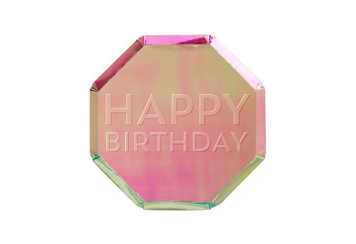 Товары для праздника MeriMeri Тарелки радужные Happy Birthday 20х20 см 8 шт.