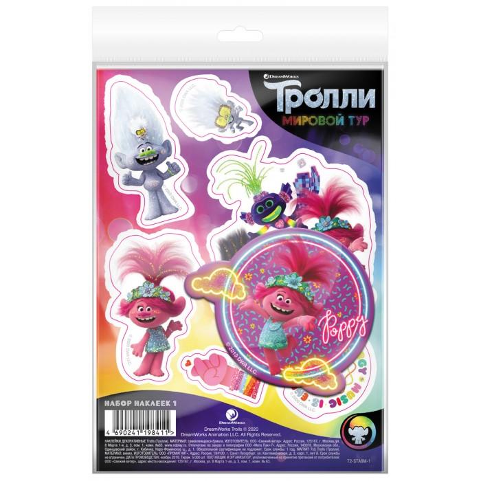 Детские наклейки Nd Play Тролли Мировой тур Набор наклейки декоративные А6 и магнит №1
