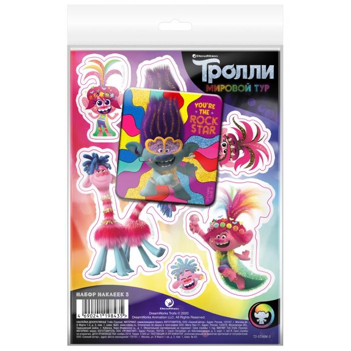 Детские наклейки ND Play Тролли Мировой тур Набор наклейки декоративные А6 и магнит №3