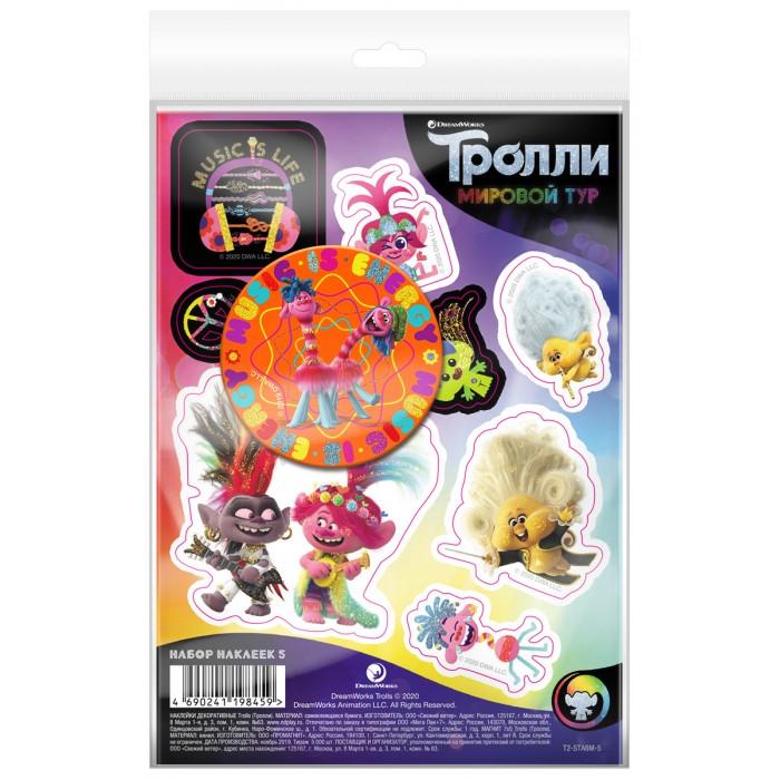 Детские наклейки ND Play Тролли Мировой тур Набор наклейки декоративные А6 и магнит №5