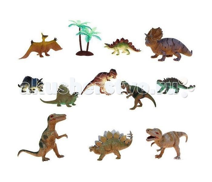 Megasaurs (HGL) Игровой набор динозавров 12 шт.Игровой набор динозавров 12 шт.Megasaurs (HGL) Игровой набор динозавров 12 шт окунет Вашего ребенка в загадочный, увлекательный, неизведанный доисторический мир!  Набор с фгурками динозавров Megasaurs содержит 11 фигурок различных видов доисторических ящеров и одну модель дерева. Фигурки сделаны из мягкого ПВХ, благодаря чему производителю удалось точно воспроизвести фактуру кожи каждого динозавра.  Все модели изготавливались учитывая строение скелетов динозавров и полностью соответствуют нашим представлениям о внешнем виде ящеров, пропорции верно сохранены, окраска очень реалистична, а детализация поражает.<br>