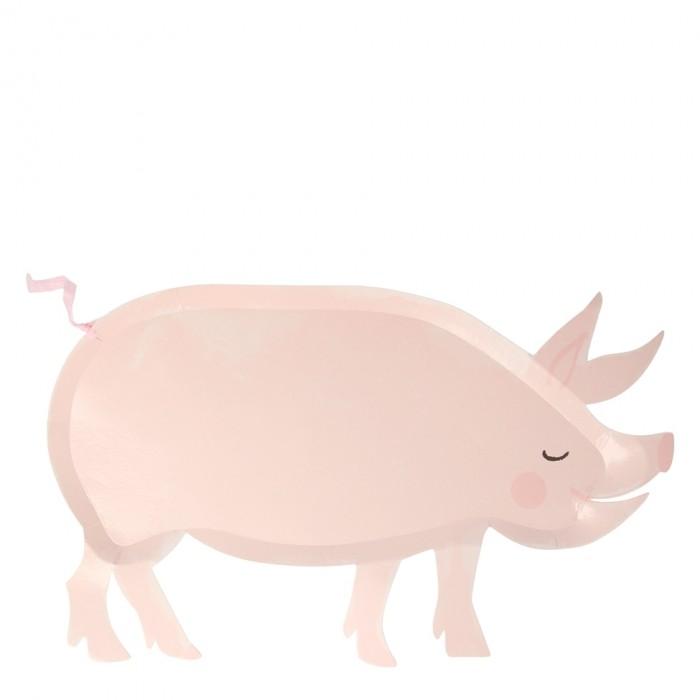 Купить Товары для праздника, MeriMeri Тарелки Ферма Свинка 12 шт.