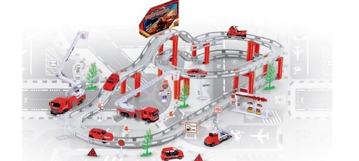 Машины Джамбо Тойз Автотрек Пожарная служба на батарейках с металлическими машинками автотрек s s toys 68814 с машинками в коробке