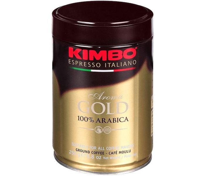 Кофе Kimbo Кофе Gold 100% Arabica натуральный жареный молотый в банке 250 г кофе в зернах kimbo aroma gold 100% arabica 250 г