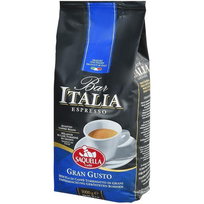 Кофе Saquella Кофе в зернах Bar Italia Espresso Gran Gusto 1 кг hausbrandt кофе в зернах гурмэ 1 кг вакуумная упаковка 560 hausbrandt