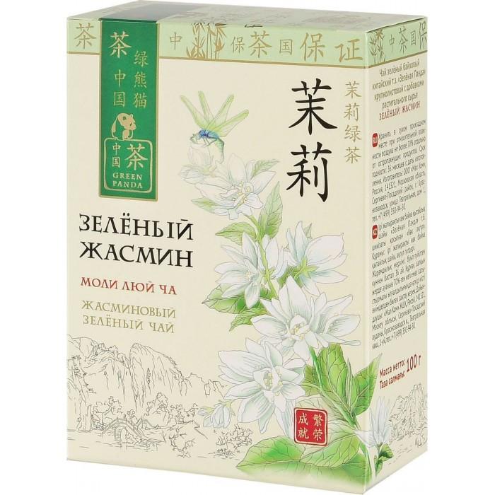 Чай Зеленая панда Чай зеленый байховый китайский крупнолистовой Жасмин 100 г сад дань чай травяной чай жасминовый чай жасминовый чай типпи 100г мешок