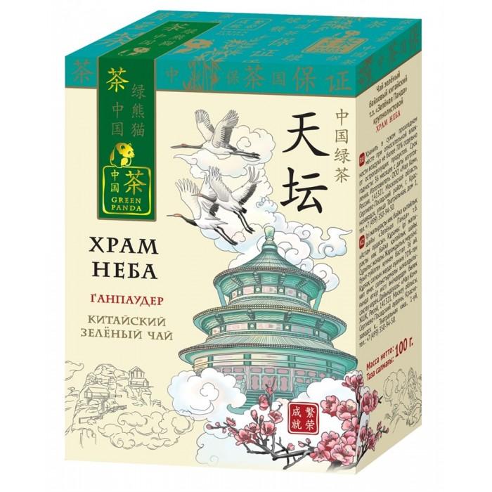 Чай Зеленая панда Чай зеленый байховый китайский крупнолистовой Храм Неба Ганпаудер 100 г
