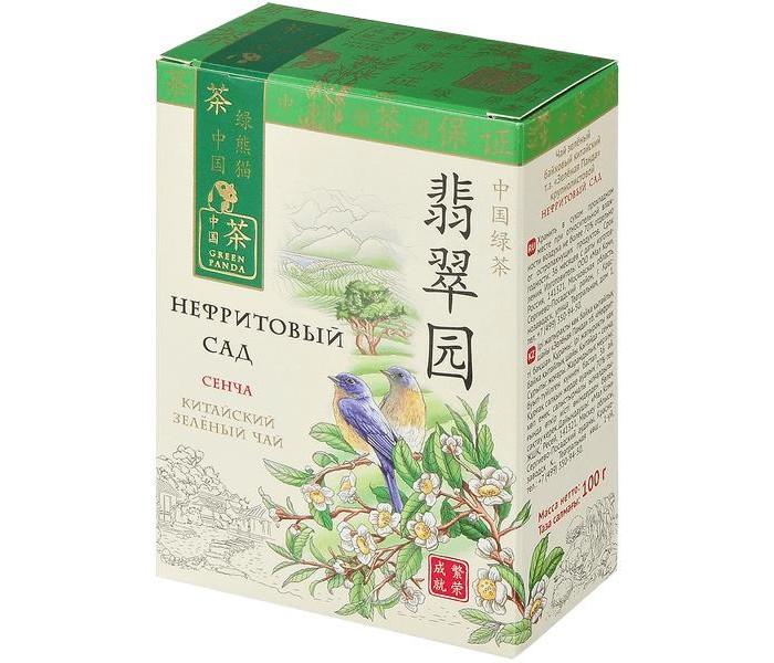 Чай Зеленая панда Чай зеленый байховый китайский крупнолистовой Нефритовый сад Сенча 100 г недорого