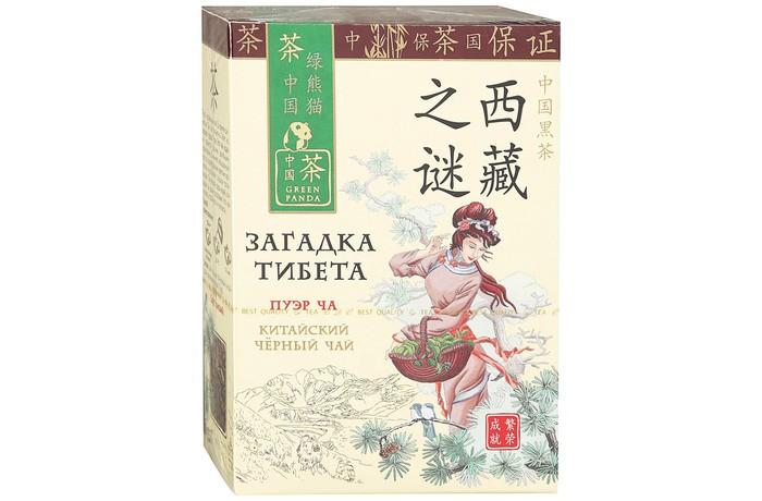 Чай Зеленая панда Чай черный байховый китайский крупнолистовой Загадка Тибета Пуэр 100 г недорого