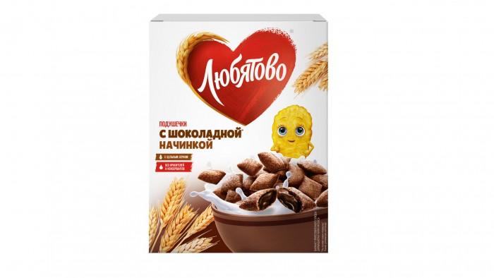 Готовые завтраки, мюсли и хлопья Любятово Завтрак готовый Подушечки с шоколадной начинкой 250 г