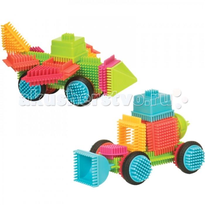 Конструктор Bristle Blocks игольчатый в чемоданчике 85 деталейигольчатый в чемоданчике 85 деталейBristle Blocks Конструктор игольчатый в ведерке, 85 деталей.  Детали конструктора легко соединяются между собой благодаря гибким пластиковым иголочкам. А веселые фигурки животных и тропических растений позволят отправиться в незабываемое путешествие прямо не выходя из дома! Элементы конструктора нежно массируют пальчики и развивают мелкую моторику у ребенка. Игольчатый конструктор развивает фантазию, координацию движений, способность к конструированию, логическое мышление, а также тактильные ощущения, мелкую моторику и речь.  Оригинальный игольчатый конструктор Bristle Blocks - тактильный детский конструктор, который позволит вашему ребенку проявить свою фантазию. Элементы конструктора выполнены из яркого разноцветного пластика и оснащены игольчатыми сторонами, которые легко соединяются между собой, практически в любой плоскости. Комплект включает 85 элементов для сборки конструктора.<br>