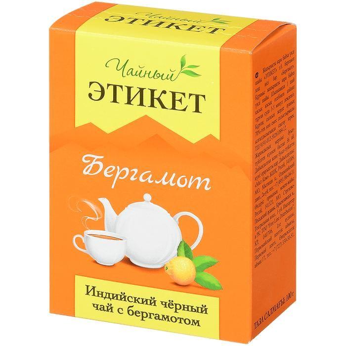Чай Этикет Чай черный Бергамот 100 г азерчай чай черный азерчай с бергамотом 100 г