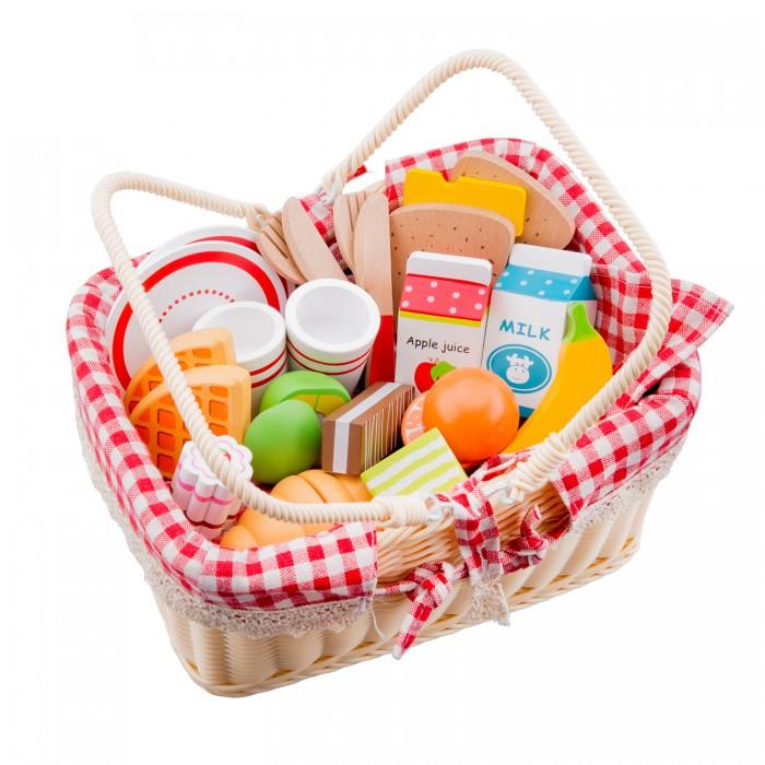 Деревянные игрушки New Cassic Toys Корзина с продуктами для пикника