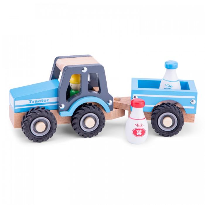 Деревянная игрушка New Cassic Toys Трактор с прицепом молоко
