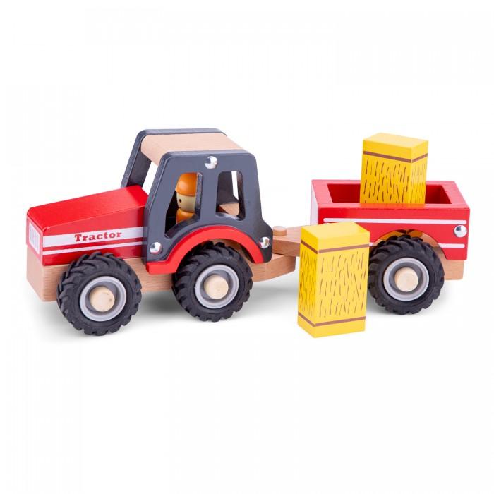 Деревянные игрушки New Cassic Toys Трактор с прицепом сено