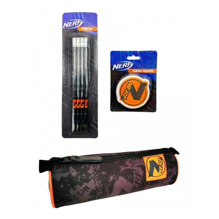 Nerf Набор: пенал, карандаши и ластик