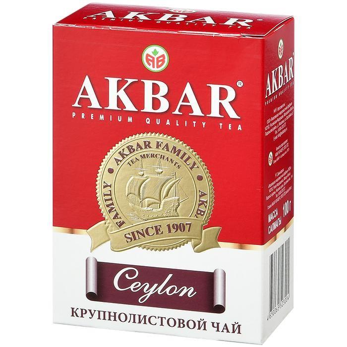 Чай Akbar Чай черный крупнолистовой Цейлон Медаль 100 г чай akbar чай черный среднелистовой gold 250 г