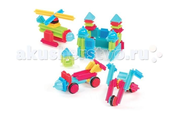 Конструктор Bristle Blocks игольчатый в коробке 112 деталейигольчатый в коробке 112 деталейBristle Blocks Конструктор игольчатый в коробке, 112 дет.  Оригинальный игольчатый конструктор Battat Bristle Blocks - тактильный детский конструктор, который позволит вашему ребенку проявить фантазию. Игрушки Battat имеют неповторимый дизайн, максимально безопасны и надежны и, что не менее важно, обладают высоким развивающим потенциалом.  Увлекательный конструктор состоящий из множества ярких щетинистых блоков разной формы, размеров и цветов. Пластиковые элементы легко и быстро скрепляются, при этом обеспечивая прочное сцепление. Ваш ребенок будет часами сидеть за творческой работой, соединяя необычные игольчатые элементы в уникальные сооружения. А дополнительные фигурки помогут развернуть настоящий игровой сюжет.   Комплект включает 103 игольчатых блока и 9 фигурок для сборки конструктора. Конструктор упакован в закрывающийся пластиковый чемоданчик с ручкой, удобный для хранения и переноски. Игольчатый конструктор Battat Bristle Blocks поможет ребенку развить мелкую моторику рук, логическое и пространственное мышление, творческие способности, а также поможет научиться соотносить форму и величину предметов.<br>