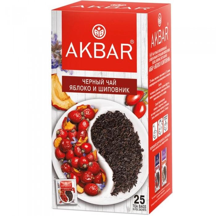 Чай Akbar Чай черный ароматизированный Яблоко и шиповник 25 пак