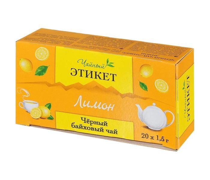 Чай Этикет черный байховый с ароматом лимона 20 пак.