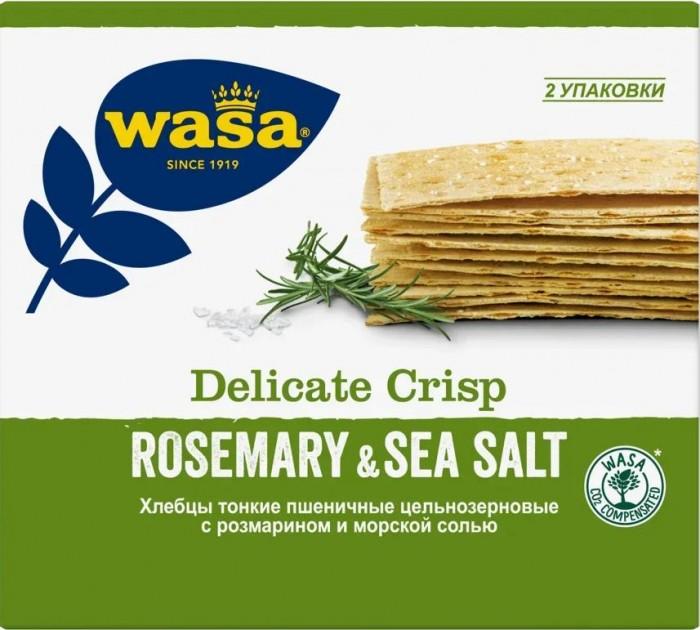 Правильное питание Wasa Хлебцы пшеничные тонкие Delicate Krisp Розмарин и морская соль 190 г zum tub соль эпсома и морская соль ладан и мирра 12 унций 340 г