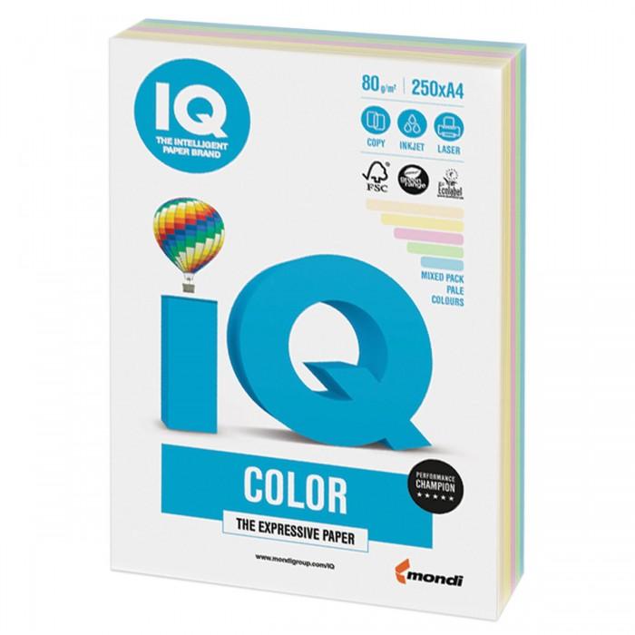 IQ Color Бумага цветная Микс Пастель А4 250 листов