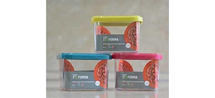 Контейнеры для еды Полимербыт Банка сыпучих продуктов квадратная Forma 0.6 л