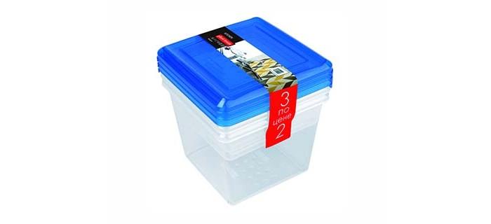 Картинка для Контейнеры для еды Plast Team Набор квадратных емкостей для продуктов Pattern 1 л 3 шт.