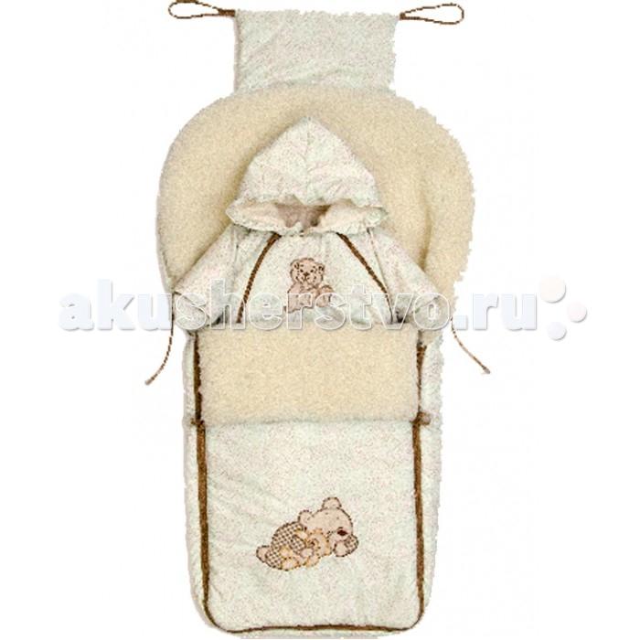 Зимний конверт Bombus МимиМимиМеховой конверт - незаменимый аксессуар для прогулок с ребенком в холодное время года. Меховой конверт «Мими» очень теплый и комфортный.  По всей длине конверт снабжён легко открывающимися и закрывающимися застёжками-молниями. Конверт имеет большой размер, ребенку будет в нем комфортно и просторно.   Внешняя часть выполнена из непромокаемой ткани.   Сочетание спокойных и мягких пастельных тонов, подойдет для мальчика и для девочки.  Конверт разработан с учетом климатических особенностей России, теплая и натуральная овечья шерсть особой обработки не позволяет вашему малышу перегреваться и в тоже время сохраняет тепло. Овечья шерсть гипоаллергенна и рекомендуется педиатрами в качестве наполнителя для детских конвертов. А кроме того она очень нежная и мягкая!   Материал: плащевка, мех овчина, синтепон Отделка: вышивка  Внимание! Комбинезон в комплект не входит!<br>