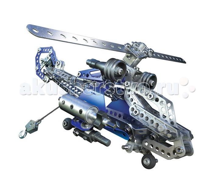 Конструктор Meccano Боевой вертолёт 2 модели (374 детали)Боевой вертолёт 2 модели (374 детали)Конструктор Meccano Боевой вертолёт 2 модели (374 детали) относится к конструкторам высокой сложности, с функциональными элементами, системой радиоуправления, световыми элементами и т.д.   Из 374 деталей можно собрать одну из двух моделей воздушной техники: военного вертолета или планера. Детали конструктора, в основном - металлические пластины с отверстиями, которые соединяются болтами, а также подвижные части, такие как колеса и блоки. Именно благодаря последним винт вертолета свободно вращается, шасси убирается, а крюк на лебедке опускается и поднимается.   Инструменты, необходимые для работы (отвертка и гаечный ключ), входят в набор.  Конструкторы Meccano были придуманы инженером-самоучкой Фрэнком Хорнби в конце XIX - начале XX века. Основная идея состояла в создании конструктора, максимально приближенного к принципам реальной инженерии, но достаточно простого, чтобы его мог собрать ребенок. На сегодняшний день производством конструкторов Meccano занимается компания Spin Master.<br>