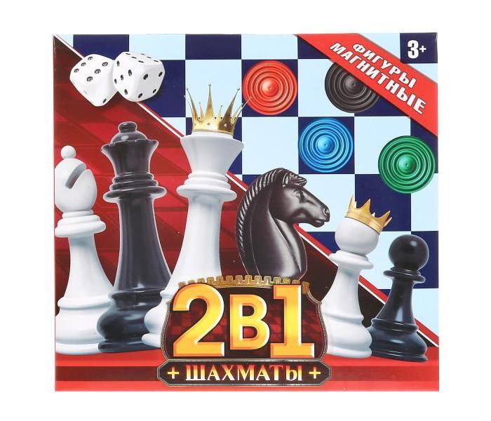 Картинка для Настольные игры Играем вместе Шахматы магнитные 2 в 1