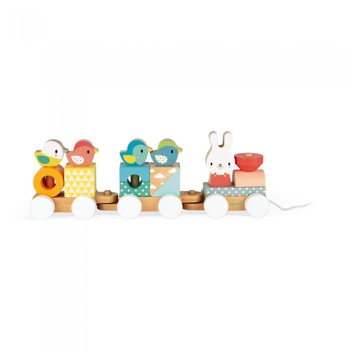 каталки игрушки janod на веревочке ксилофон sweet cocoon Каталки-игрушки Janod Поезд с животными серия Скандинавские мотивы