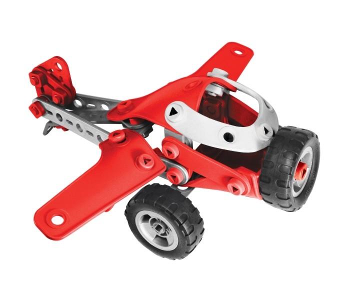 Конструктор Meccano Легкомоторный самолёт 4 модели (95 деталей)Легкомоторный самолёт 4 модели (95 деталей)Конструктор Meccano Meccano Легкомоторный самолёт 4 модели (95 деталей) можно собрать любую из четырех моделей на выбор: аэроплана, вертолета, гоночной машины и грузовика.   Как и другие модели этой серии, отличается простотой сборки, большими пластмассовыми (а не металлическими) деталями, отдельные элементы конструктора выполнены из мягкой резины. Набор очень яркий и красочный, отлит из высококачественных и безопасных материалов  Конструкторы Meccano (Меккано) были созданы в 1901 году Фрэнком Хорнби из Ливерпуля. Замысел заключался в том, чтобы познакомить детей с основами настоящей инженерии и привить интерес к технике, не слишком усложняя процесс!<br>