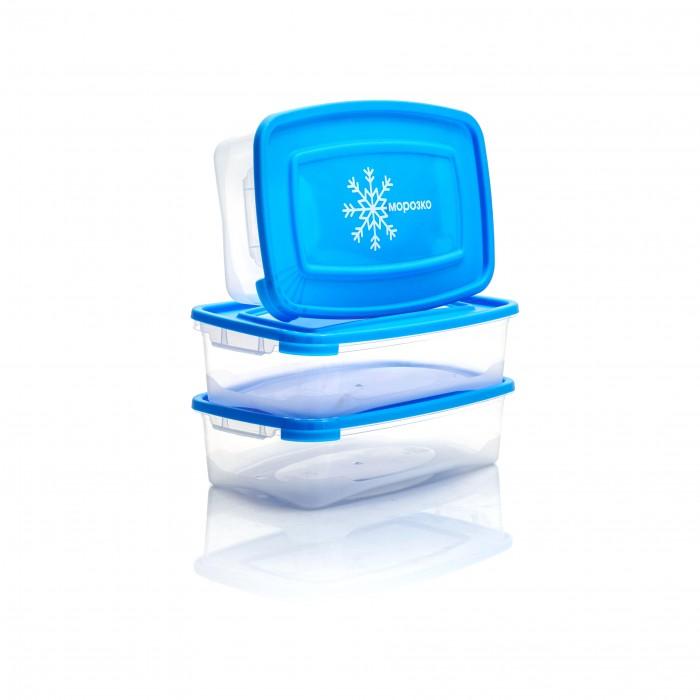 Картинка для Контейнеры для еды Полимербыт Комплект прямоугольных контейнеров для замораживания продуктов Морозко 0.7 л 3 шт.