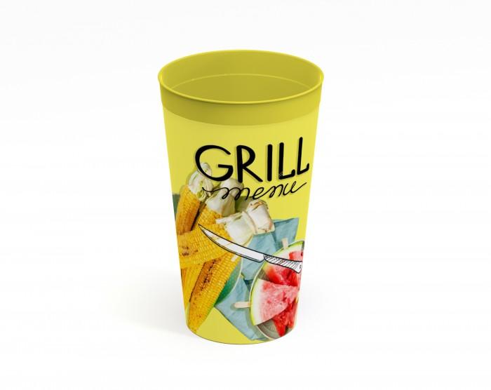 Картинка для Посуда Полимербыт Стакан с декором Grill Menu 0.4 л