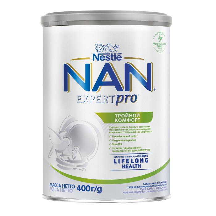 Молочные смеси NAN Молочная смесь Тройной комфорт с 0 мес. 400 г молочная смесь nan антиколики с рождения 400 г
