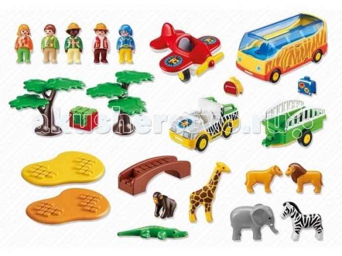Конструктор Playmobil 1.2.3. Большое африканское сафари1.2.3. Большое африканское сафариКонструктор Playmobil 1.2.3. Большое африканское сафари - захватывающее путешествие по жаркой саванне.   В наборе:    Человечки: 1водитель автобуса, 1 водитель джипа, 1 пилот, 2 туриста. У всех фигурок подвижные ноги (что помогает легко размещать фигурки в машинах и аэроплане), дизайн одежды человечков соответствует тематике набора.  Животные: аллигатор, шимпанзе, жираф, слон, зебра, лев и львица.  Автобус: 4 сидячих места (в которых надежно фиксируются фигурки), откидная боковая крышка отсека для багажа (куда легко помещаются 2 дорожные сумки), подвижные колеса.  1 аэроплан,   Джип с прицепом: 1 сидячее место, багажник (куда легко помещается ящик с травой), фаркоп, подвижные колеса, двухколесный прицеп (боковые решетки, место для одного животного на выбор (кроме аллигатора), подвижные колеса.  Аэроплан: подвижные шасси, вращающийся пропеллер, 1 сидячее место.  Аксессуары: 2 дерева, 2 подставки для животных, 1 мост, 2 дорожные сумки, ящик для перевозки травы.   Серия 1.2.3 Playmobil - потрясающие конструкторы из Германии для детей от 1,5 до 3 лет! С первой маленькой фигурки и до последней большой детали ребенок будет увлечен и восхищен разнообразием, функциональностью, оригинальным дизайном и удобными формами игрушек.<br>