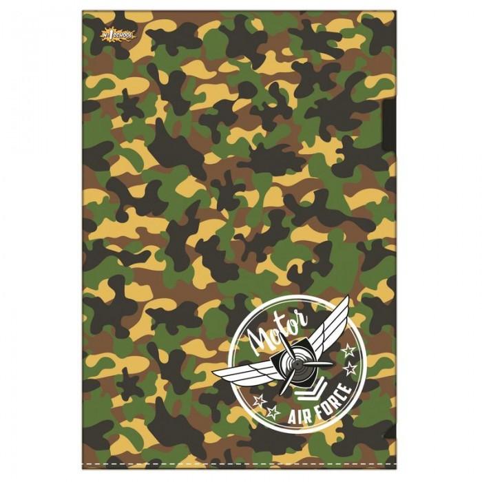 Канцелярия №1 School Папка уголок А4 Military папка уголок hatber monster high дракулаура цвет черный розовый формат а4